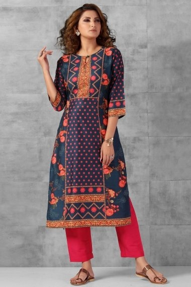 Prussian Blue Cotton Floral Printed Kurti with Pant