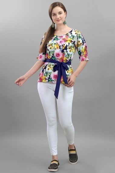 Blue Crepe Floral Printed Tunic