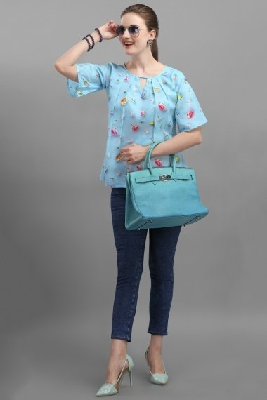 Blue Cotton Floral Printed Tunic