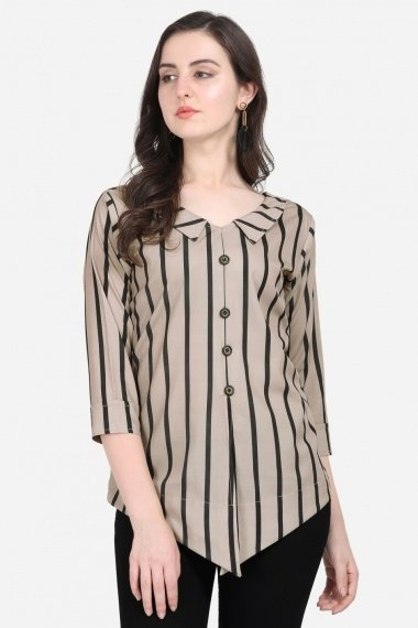 Taupe and Black Crepe Printed Tunic