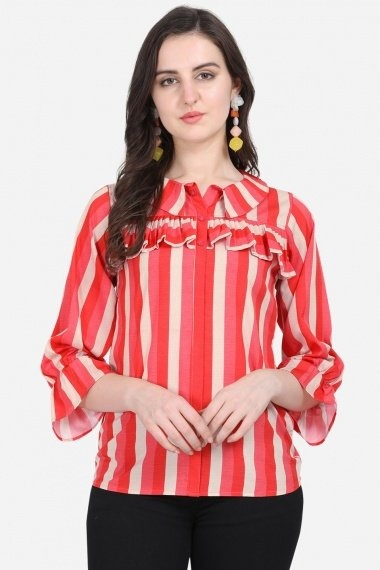Pink and Off White Crepe Stripes Printed Tunic
