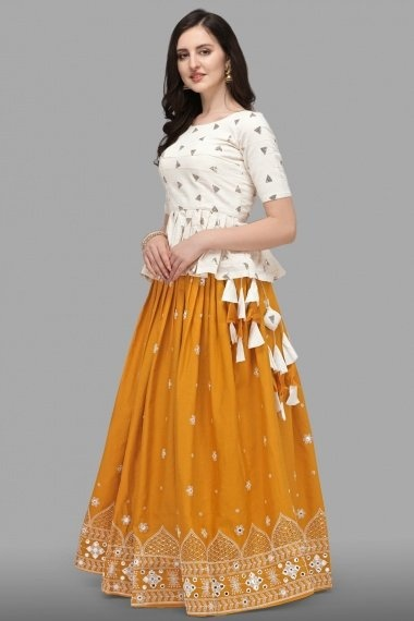Off White Cotton Peplum Style Top with Skirt