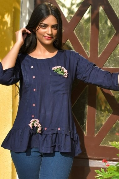 Navy Blue Rayon Tunic with Pockte