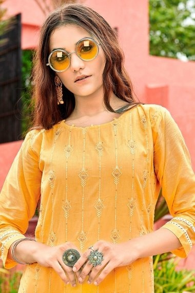 Yellow Cotton Kurti with Embroidery