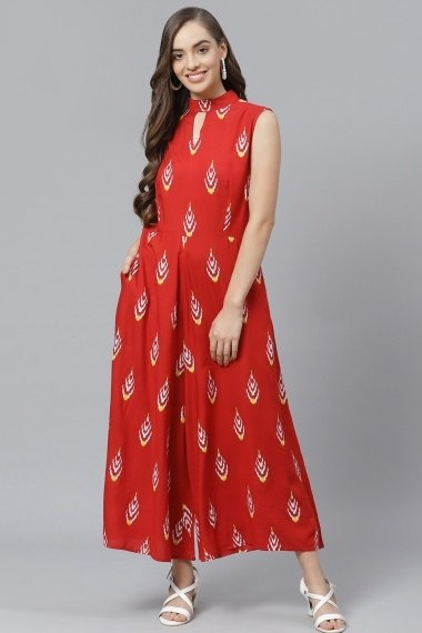Red Rayon Printed Jumpsuit