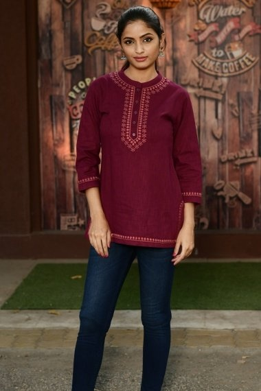 Maroon Cotton Embroidered Tunic