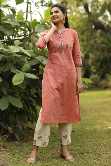 Peach Cotton Embroidered Kurti with Pant