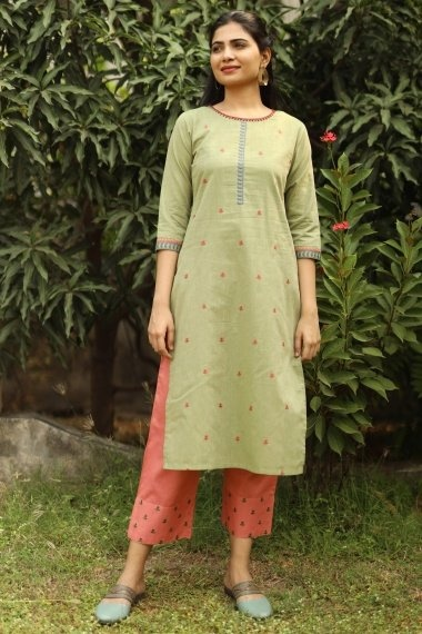 Light Green Cotton Embroidered Kurti with Pant