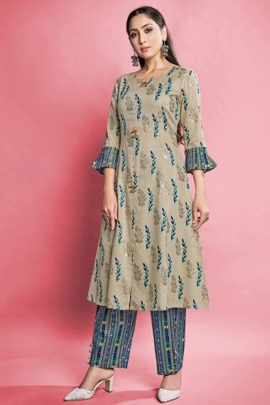 Beige Cotton Printed Straight Cut Kurti with Pant