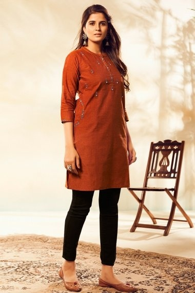 Brown Cotton Straight Cut Embroidered Kurti