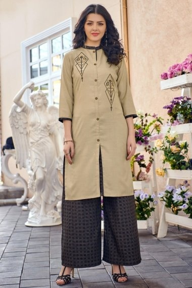 Beige Cotton Embroidered Kurti with Palazzo
