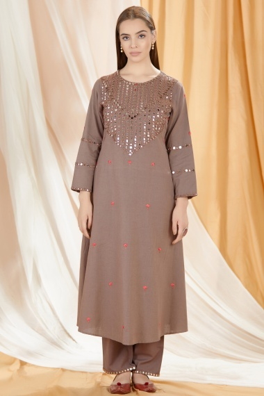 Brown Cotton Mirror Worked Kurti with Pant