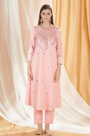 Light Pink Cotton Mirror Worked Kurti with Pant