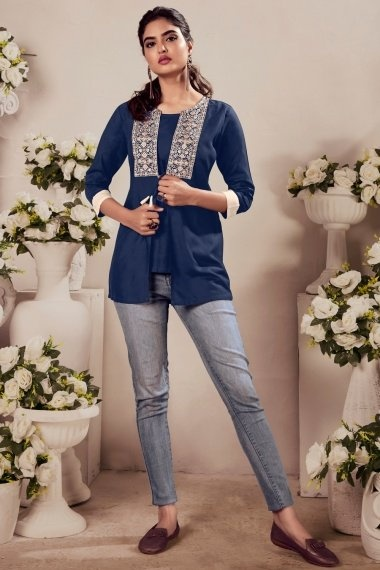 Blue Rayon Tunic with Embroidery