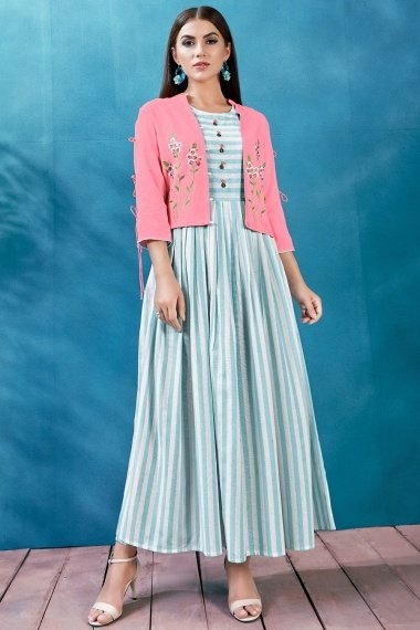 Blue and White Kurti with Jacket