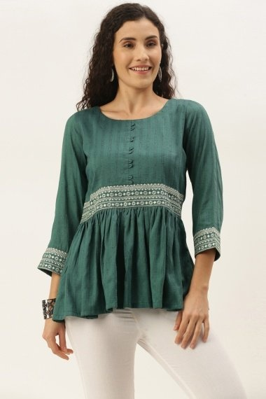 Green Chinon Tunic with Embroidery
