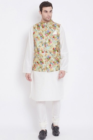 Off White Blended Silk Plain Kurta Pajama with Multi Colored Floral Woven Jacket