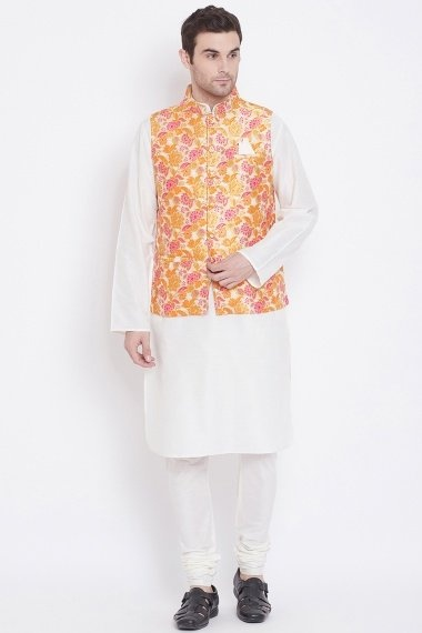 Off White Blended Silk Plain Kurta Pajama with Floral Woven Jacket