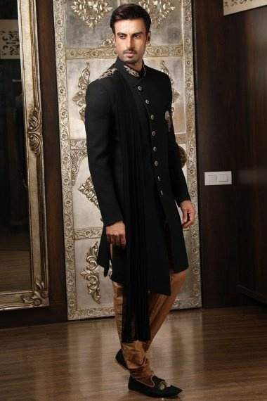 Black Silk Angrakha Style Indowestern Set with Attached Stole