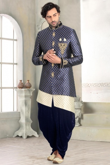 Blue Brocade Embroidered Indo Western Dhoti Set