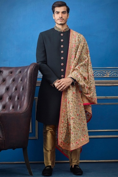 Black Imported Embroidered Indo Western Suit