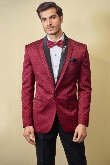 Red Imported Emboss Print Suit
