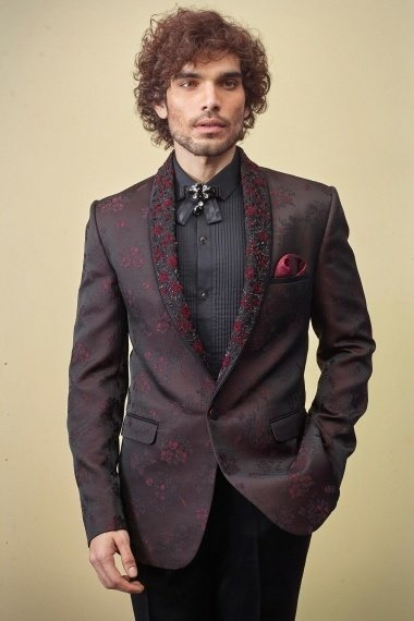 Brown and Black Imported Emboss Print Suit