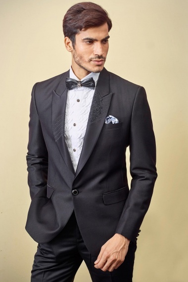 Black Imported Emboss Print Suit