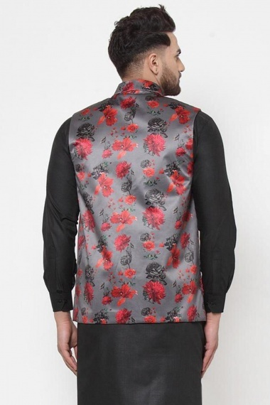 Grey Cotton Satin Printed Jacket with Floral Motifs