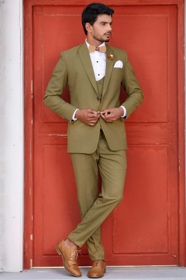 Olive Green Viscose Polyester Suit