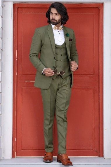 Green Viscose Polyester 3 Piece Suit