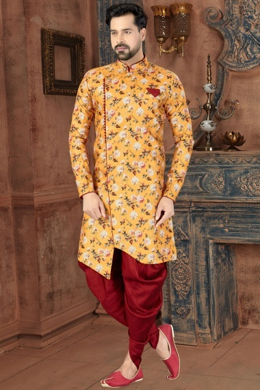 Yellow Jacquard Digital Floral Printed Indo Western with Dhoti
