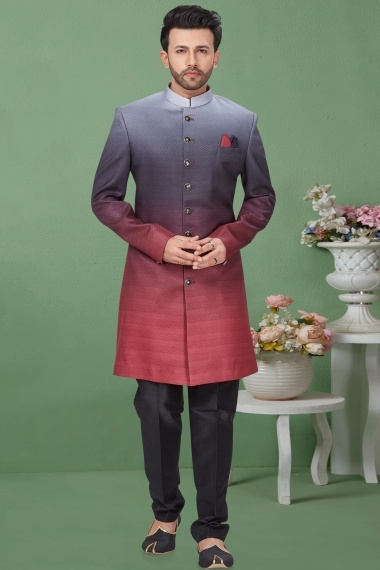 Grey and Pink Shaded Imported Indo Western Suit