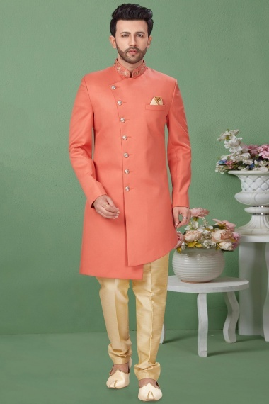 Peach Imported Asymmetric Indo Western Suit