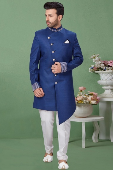 Blue Imported Asymmetric Indo Western Suit