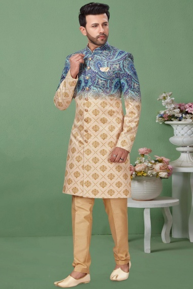 Light Pink and Blue Shaded Imported Printed Indo Western Sherwani