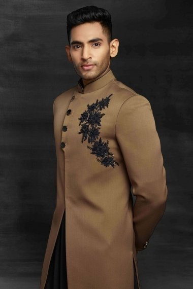 Beige and Black Embroidered Indo Western Suit
