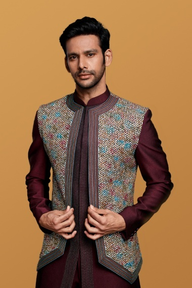 Maroon Imported Plain Indo Western Suit