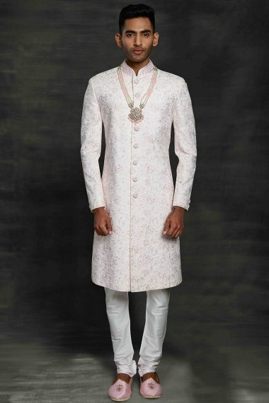 Pearl White Silk All Over Embroidered Sherwani