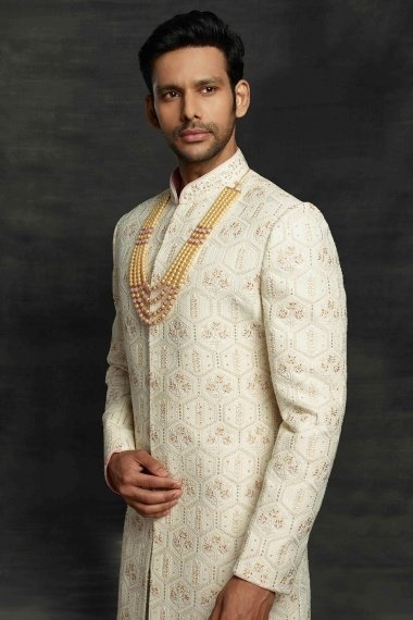 Cream Imported All Over Embroidered Sherwani
