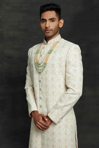 Off White Imported All Over Embroidered Sherwani