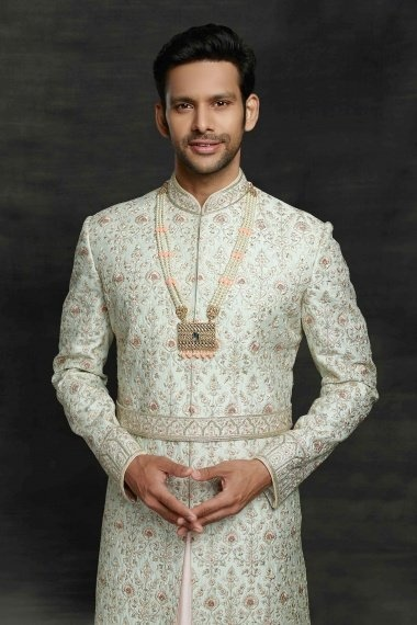 Off White and Pink Imported Royal Sherwani with All Over Embroidery