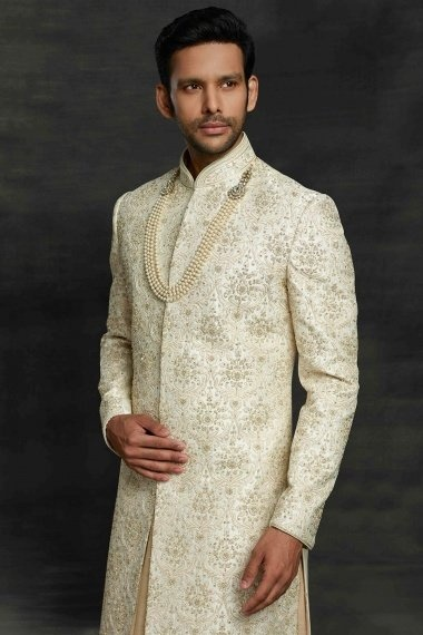 Cream and Beige Imported Royal Sherwani with All Over Embroidery