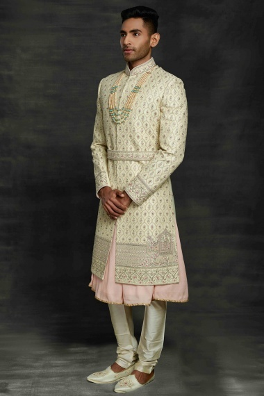 Light Pista Green and Pink Silk All Over Embroidered Sherwani with Elephant Motif