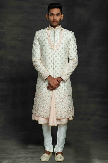 Off White and Pink Silk All Over Embroidered Sherwani