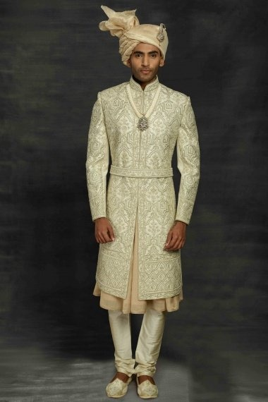 Pista Green and Beige Imported Royal Sherwani with All Over Embroidery