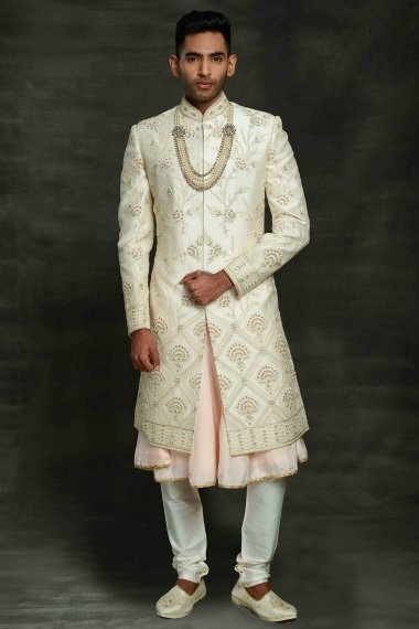 Pearl White and Pink Silk Sherwani with Floral Embroidery