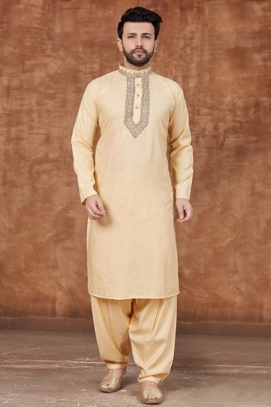 Beige Cotton Embroidered Pathani Suit