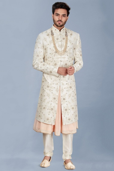 Cream and Light Pink Silk Floral Embroidered Sherwani