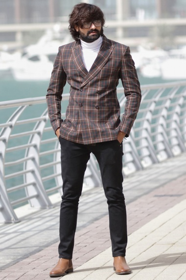 Blue and Brown Viscose Polyester Blazer